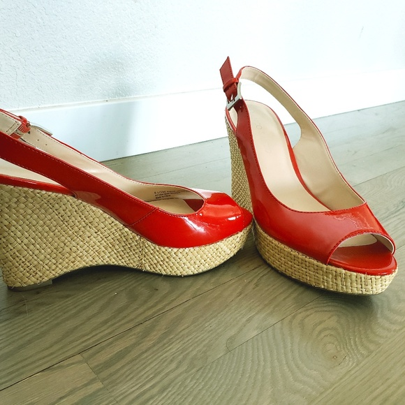 Size 85 Red Peep Toe Wedges